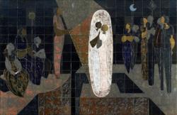 Mural que representa una escena nocturna, de carácter simbólico, con un coro de figuras femeninas en pie o sentadas a ambos lados de una pareja de muchachas, una blanca y otra negra, abrazadas y enmarcadas por una forma oval alargada de intenso color blanco, que sale, como si fuera el haz de una lámpara eléctrica, de la mano de una figura en pie a la izquierda. Autor: Tomás Gabriel, Ramón